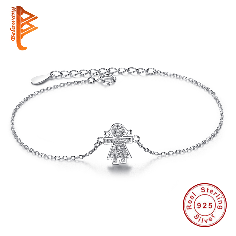 Authentic 925 Sterling Silver Bracelet for Women Girls Charm Cubic Zirconia Micro Pave CZ Crystal Bracelet Link Chain Jewelry