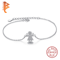 Authentic 100 925 Sterling Silver Link Chain Bracelet Cute Girls Charm Cubic Zirconia Micro Pave CZ