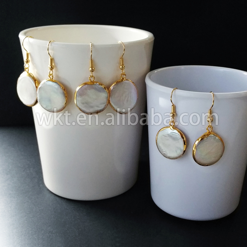 WT E157 New products Natural freshwater pearl earrings round pearl gold dipped doop in high quality
