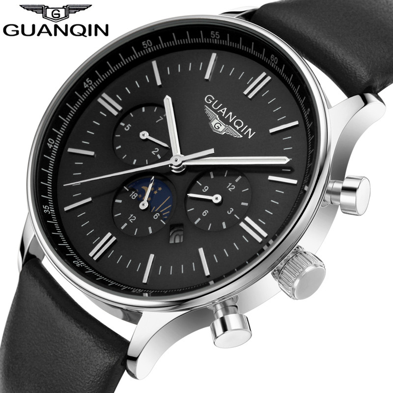 Mens Watches Top Brand Luxury GUANQIN Fashion Casual Leather Quartz Watch Men Sport Waterproof Wristwatch relogio masculino baosaili fashion casual mens watches top brand luxury leather business quartz watch men wristwatch relogio masculino bs1038