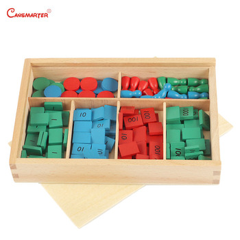 Stamp Games With Box Montessori Materials for Home School Math Toys Teaching Aids Beech Numbers Wooden MA062