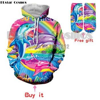 PLstar Cosmos Lisa Frank Color dolphin Hoodies Sweatshirt Men'swomen 3d full print hoodies Carnival