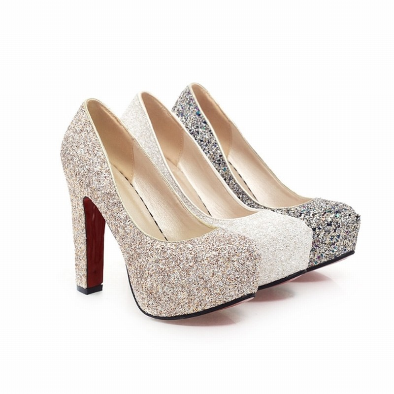 J&K 2019 New Brand High Heels Glitter Wedding Shoes Pumps Sequine Hot Sale Fashion Thick Heel Platform Shoe Woman Big Size 32-43