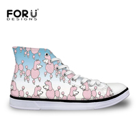 FORUDESIGNS 2018 Spring Poodle Printed Women's Vulcanized Shoes Canvas Shoes Woman Sneakers Fashion Lace Up Chaussure Femme New