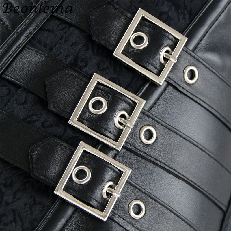 Steampunk Gothic Overbust Corset Malevolent Maelstrom Corset PU Leather Chain Gothic Waist Corselet Corsage Korsett (2 PCS set)