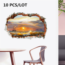 10 PCS/LOT 3D wall sticker broken oil painting sail boat surf scenic area living room background TV mural decoration