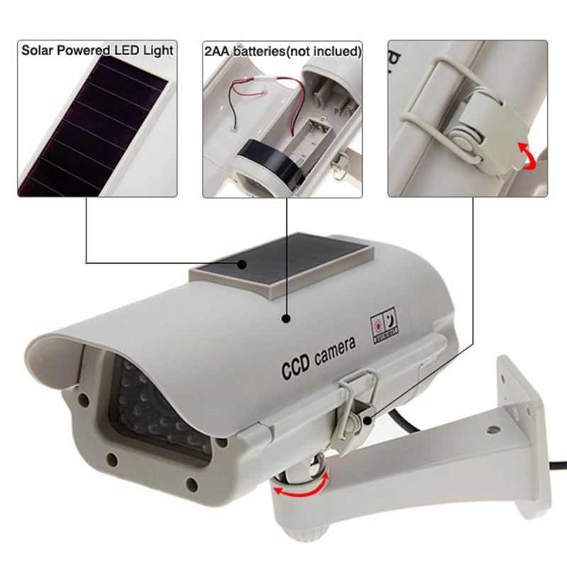 Solar Powered /AA battery CCTV Dummy Camera Fake CCTV Security Camera Flashing LED Surveillance Wholesale Dropping