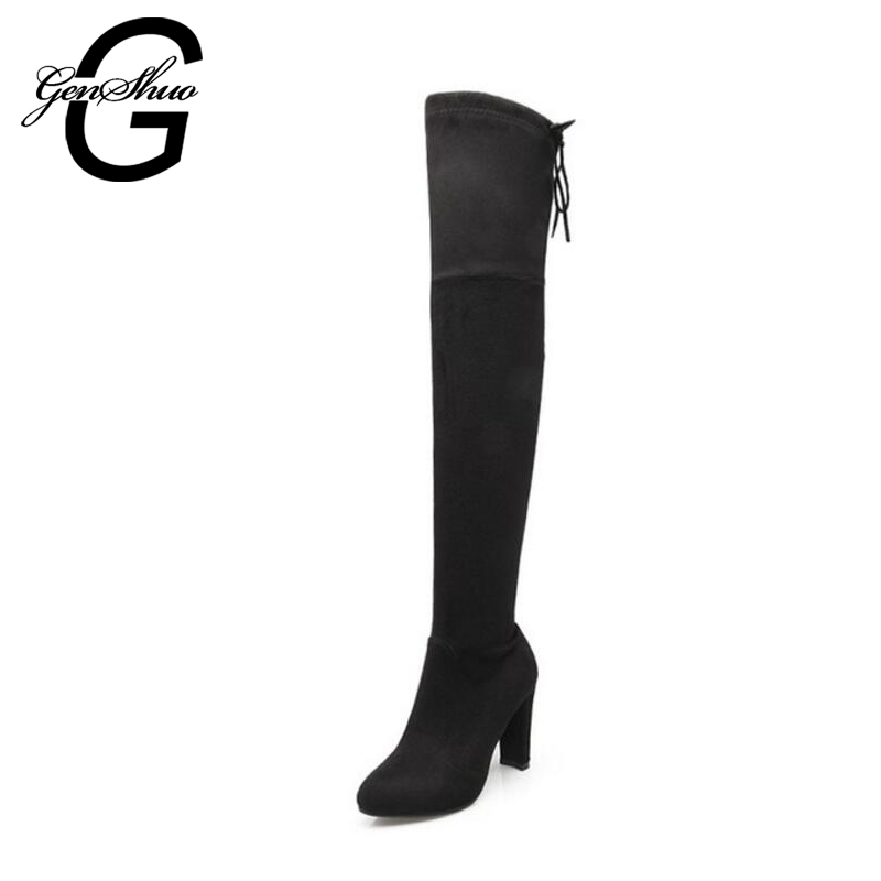 Faux Suede Slim Boots Sexy over the knee high women snow boots women's fashion winter thigh high boots shoes woman ppnu woman winter nubuck genuine leather over the knee snow boots women fashion womens suede thigh high boots ladies shoes flats