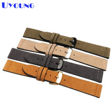 Wholesale Genuine leather bracelet 16 18 19 20 22 24mm latest charm Grind Suede leather watch strap pin clasp soft band(China)