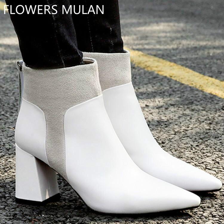 Daim Zipper Blanc Mujer Bottes Xrgrx Zapatos Cuir Carré Femme Pointu D IgvY6yfb7