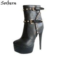 Sorbern Black Ankle High Boots Women Platform Heels Rivets Back Zipper Shoes Women Winter Style Fur Boots Girls Shoes 2019 Big