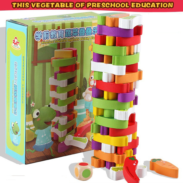 Juguetes De Verduras De Madera Para Ninos Apilables Juegos De Mesa