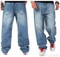 Plus Size Desgaste Da Forma Dos Homens Designer de Hip Hop Jeans Baggy Soltas Longo calças Dos Homens de Algodão Azul Calças Jeans Retas 38 40 42 44 46