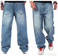 Plus Size Men Fashion Wear Hip Hop Designer Loose Baggy Jeans Long Pants Mens Blue Cotton Straight Denim Trousers 38 40 42 44 46