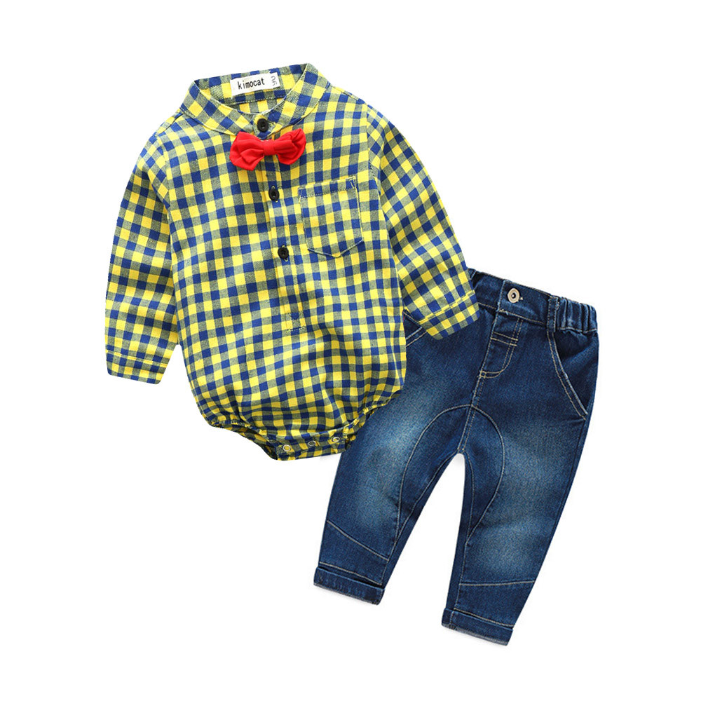 2Pcs Toddler Baby Boys Grid Print Tops Romper+demin Pants Outfits Clothes Set baby girl clothes infant rompers jumpsuits #JD