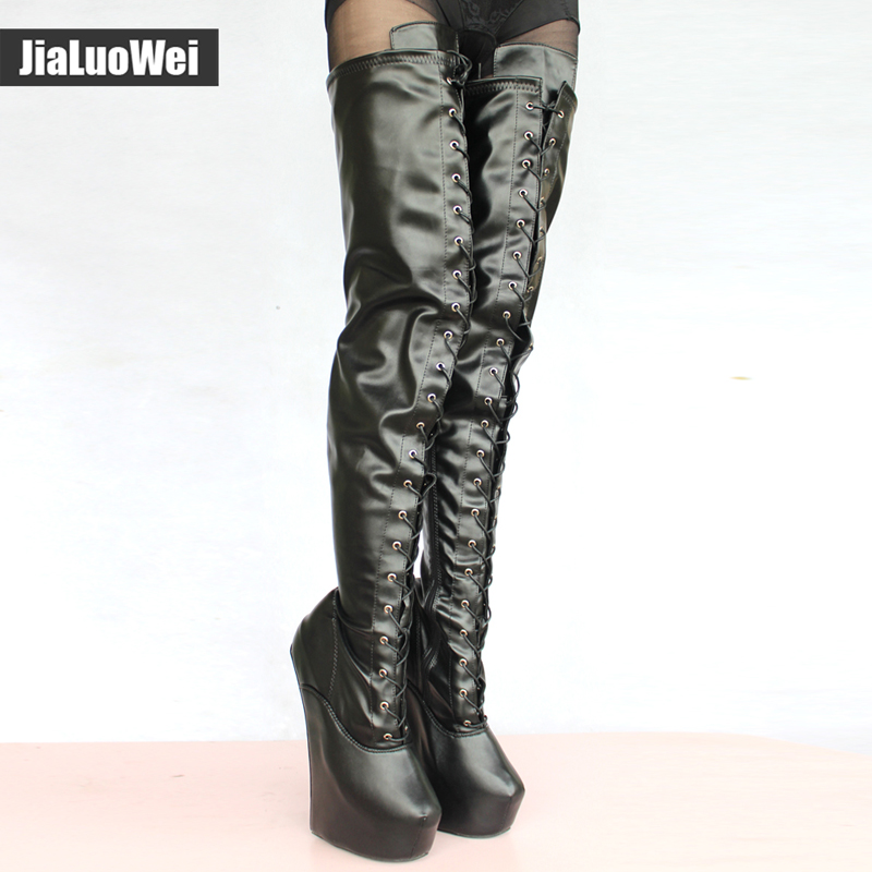 jialuowei women fashion Sexy Fetish 20cm High Heel +5cm platform Ponying Cross-tied over-knee thigh high boots Special Occasion jialuowei 20cm ultra high heel chunky heels platform zip buckle boots women dance party over knee fetish thigh high shoes