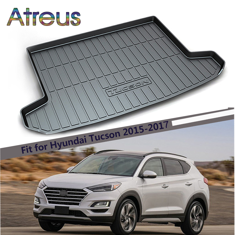 Atreus Car Rear Trunk Floor Mat Durable Carpet For Hyundai Tucson 2017 2016 2015 Anti-slip mat For Hyundai Tucson Accessories atreus anti slip car rear trunk floor mat durable carpet for hyundai ix35 creta ix25 santa fe sonata elantra tucson 2018 2017