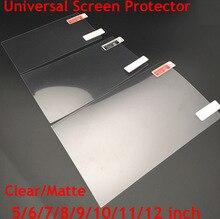 Protetores de tela universal 5/6/7/8/9/10/11/12 polegadas, transparente película protetora ou fosca, para celular/tablet/gps lcd/mp3 4