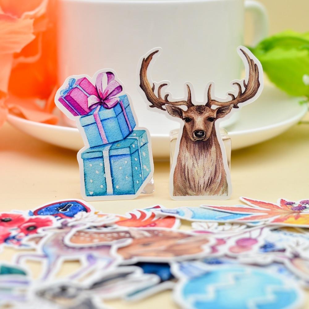 Купить с кэшбэком 38pcs Hand Drawing Christmas Deer sticker Planner Scrapbooking DIY Dry Glue Sticker/ Notebook Gift Sticker