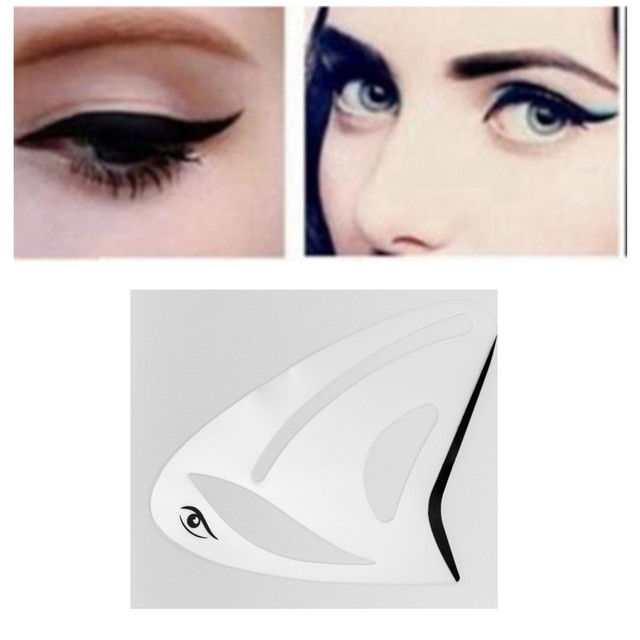 2pcs Eyeliner Eye shadow Stencil 3 in 1 Cat Eyes Cosmetic Tool Card Cat Eyeliner Shape Template Model Tool Eye brow Makeup Tool 1