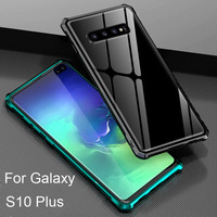 Aluminum Metal Frame Tempered Glass Back Cover Bumper Case For Samsung Galaxy S10 Plus Shockproof Cover S 10 Plus Cases Shell