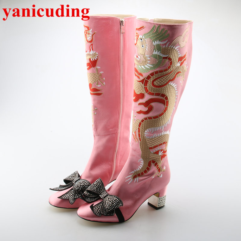 yanicuding Luxury Brand Mirrored Heel Crystal Butterfly Knot Decor Women Boots Embroider Dragon Long Booties Satin Design Shoes yanicuding round toe women flock ankle booties metal short boots zip design luxury brand fashion runway star autumn shoes flats