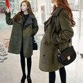 4xl más el tamaño grande abrigos mujer primavera otoño invierno 2016 feminina traje largo abrigo calienta femenino A2071