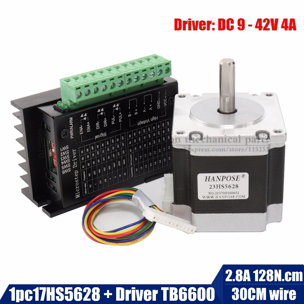 Free shipping Nema 23 23HS5628 Stepper Motor 57 motor 2.8A with TB6600 stepper motor driver NEMA17 23 for CNC and 3D printer a4988 3d printer reprap stepper motor driver green