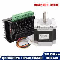 Free Shipping Nema 23 23HS5628 Stepper Motor 57 Motor 2 8A With TB6600 Stepper Motor Driver