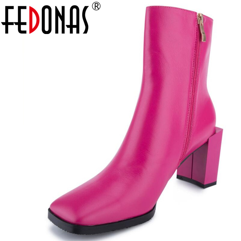 FEDONAS 1New Arrival Women Ankle Boots Autumn Winter Genuine Leather High Heels Shoes Woman Square Toe Elegant Office Lady Shoes цена