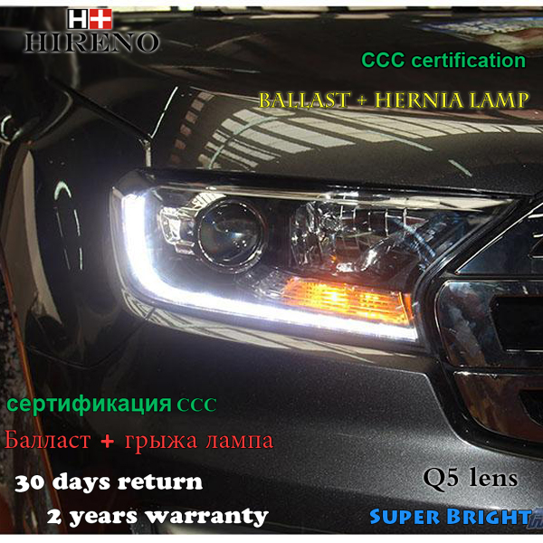 Hireno Headlamp for 2016 Ford Everest Headlight Assembly LED DRL Angel Lens Double Beam HID Xenon 2pcs 2pcs purple blue red green led demon eyes for bixenon projector lens hella5 q5 2 5inch and 3 0inch headlight angel devil demon
