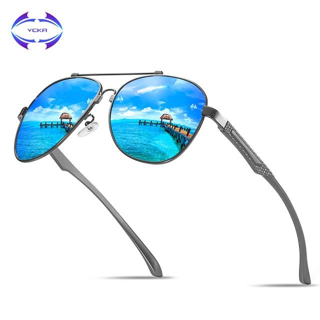 556dfd8b26 VCKA Brand Fashion Classic Polarized Sunglasses Men s Designer HD Goggle  Integrated Eyewear Sun glasses UV400 For Men