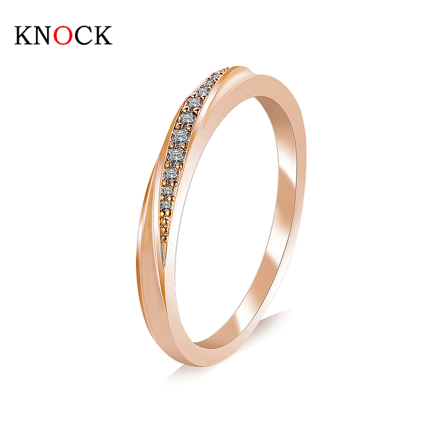 KNOCK Top Quality Simple Cubic Zirconia Lovers Rose Gold Color Wedding Ring Jewe