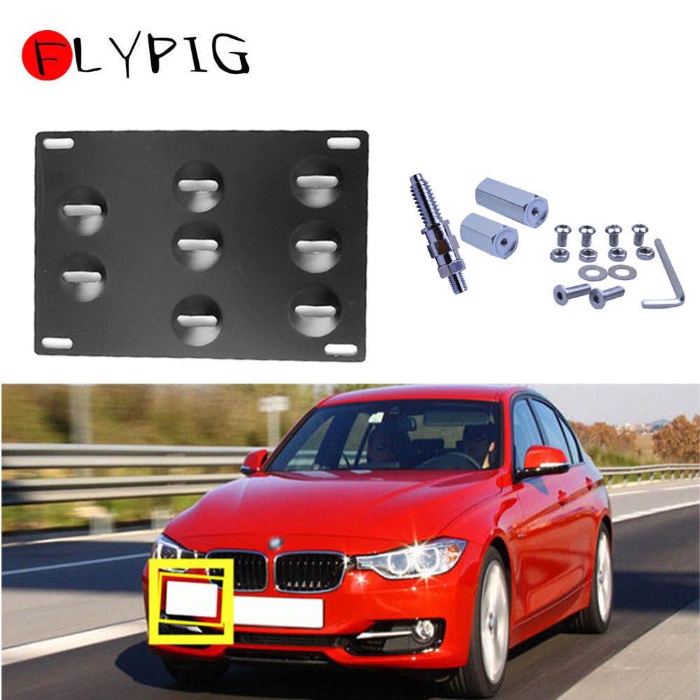 Front Bumper Tow Hook License Plate Mounting Bracket Holder For Hyundai