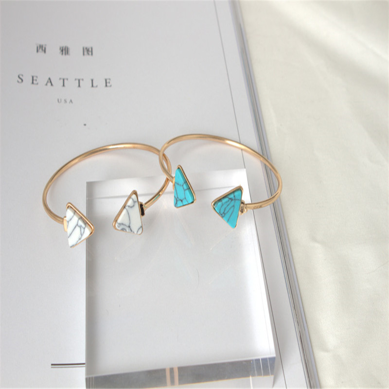 M MISM Woman Girls Fashion Opeing Bracelet Jewelry Marble Style Triangle Simple Pulseiras Stainless Steel Bangels mujer pulseras