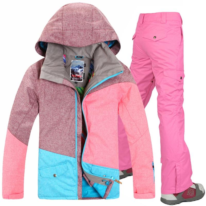 Doprava zdarma Nové zimní Gsou Snow Snowboarding Set Dámské vodotěsné ženy větru Lyžařský oblek Snowboard bunda a kalhoty
