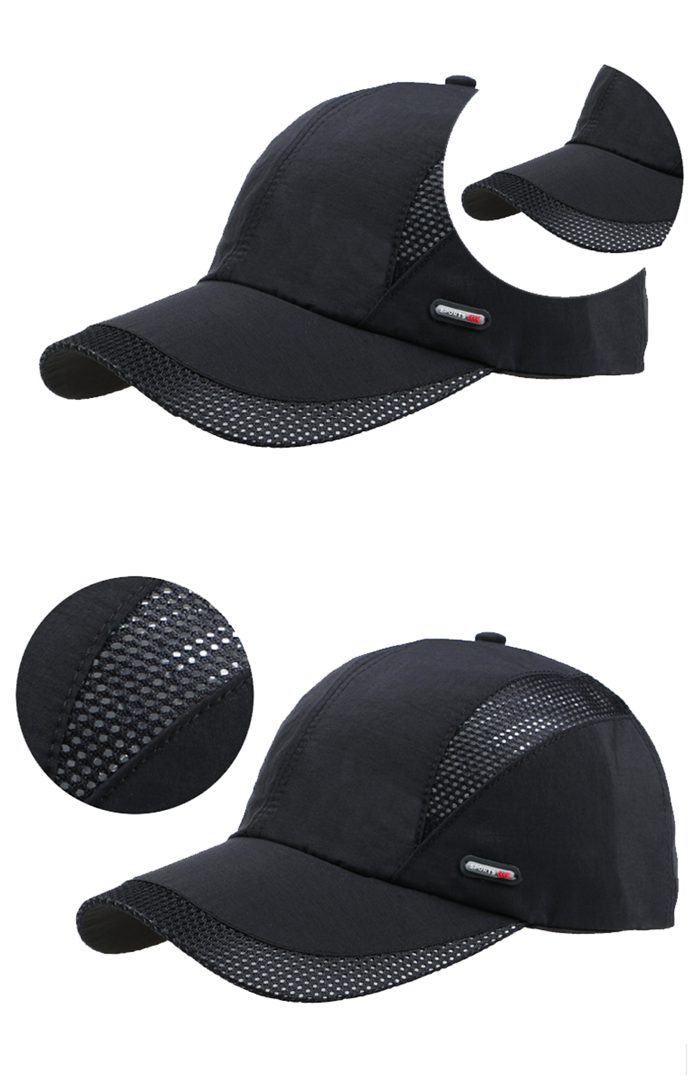 Cool Comfort Breathable Quick Dry Cap - Brim, Wedge Stitching and Front Angle Views