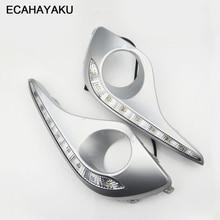 ECAHAYAKU مقاوم للماء بدوره إشارة نمط التتابع LED DRL النهار تشغيل أضواء مع الضباب مصباح حفرة لتويوتا هايلاندر 2012 2013