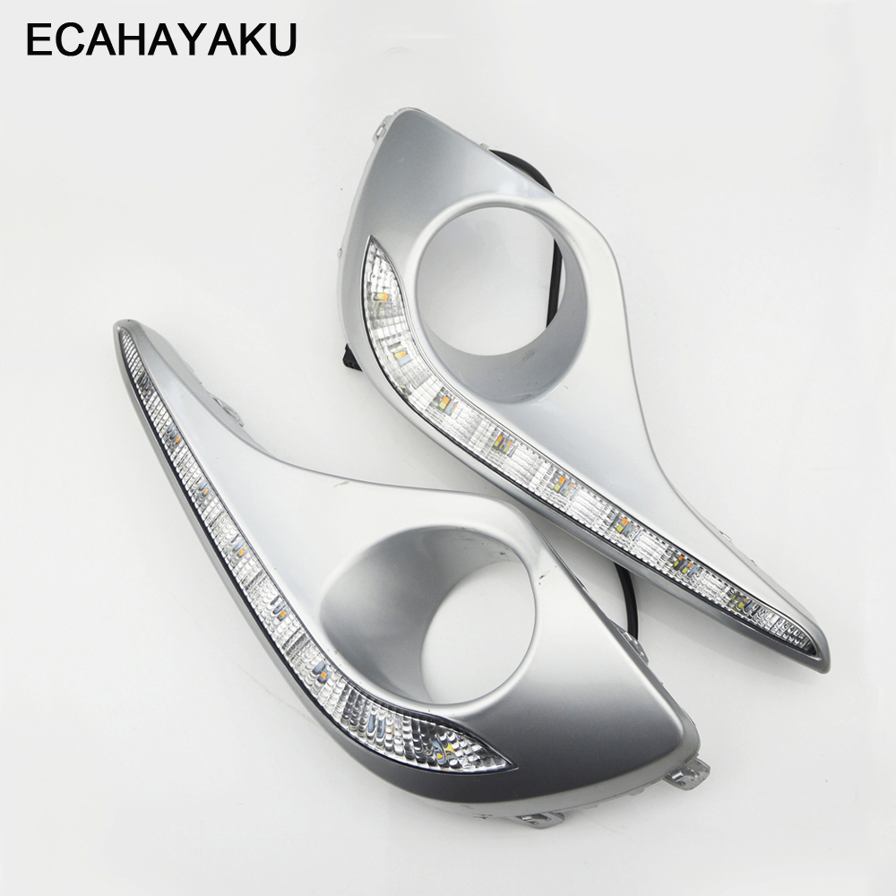 ECAHAYAKU Waterproof Turn Signal Style Relay LED DRL Daytime Running Lights With Fog Lamp Hole For Toyota Highlander 2012 2013 ecahayaku 1set 12v waterproof daytime running light drl fog lamp with fog hole for ford focus hatchback 2009 2010 2011 2012 2013