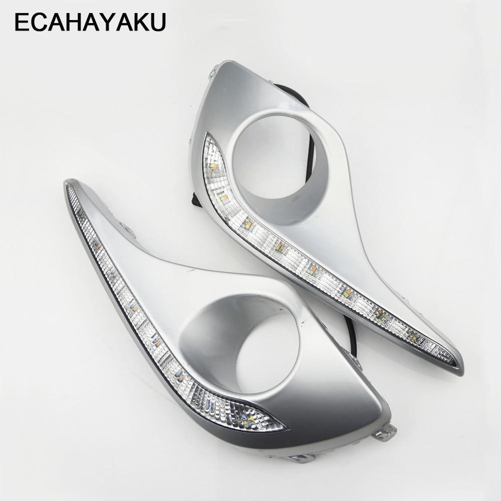 Водонепроницаемый поворотный сигнал ECAHAYAKU, стильные светодиодные дневные ходовые огни с отверстием для противотуманной фары для Toyota Highlander ...