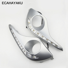 ECAHAYAKU Waterproof Turn Signal Style Relay LED DRL Daytime Running Lights With Fog Lamp Hole For Toyota Highlander 2012 2013 цена