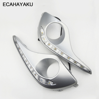 ECAHAYAKU Waterproof Turn Signal Style Relay LED DRL Daytime Running Lights With Fog Lamp Hole For Toyota Highlander 2012 2013 free shipping iphcar waterproof dual color special outside led daytime running lights for 2013 cr v