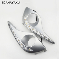 ECAHAYAKU Waterproof Turn Signal Style Relay LED DRL Daytime Running Lights With Fog Lamp Hole For Toyota Highlander 2012 2013