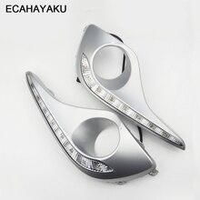 ECAHAYAKU su geçirmez dönüş sinyali stil röle LED DRL gündüz farları sis lambası delik Toyota Highlander 2012 2013 için