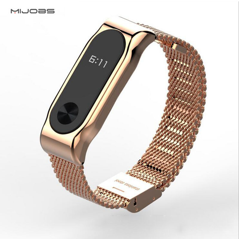 Original Mijobs Strap For Xiaomi Mi Band 2 Metal Leather Belt Bracelet For MiBand 2 Wristbands
