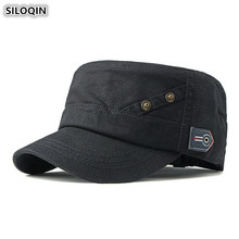 SILOQIN Snapback Cap Adult Mens Retro Army Military Hats Adjustable Size Washed Cotton Cloth Plate Flat For Men Dad Hat