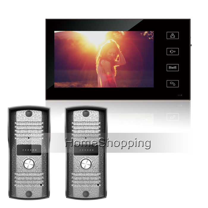 FREE SHIPPING Popular New Home Wired 7 inch TFT Touch Monitor Video Phone Intercom System+ 2 Waterproof Doorbell Camera IN STOCK 7 inch video doorbell tft lcd hd screen wired video doorphone for villa one monitor with one metal outdoor unit night vision