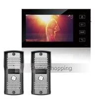 FRETE GRÁTIS Popular New Home Wired 7 polegada TFT Touch Monitor de Vídeo Telefone Campainha Intercom Sistema + 2 À Prova D' Água Câmera EM ESTOQUE