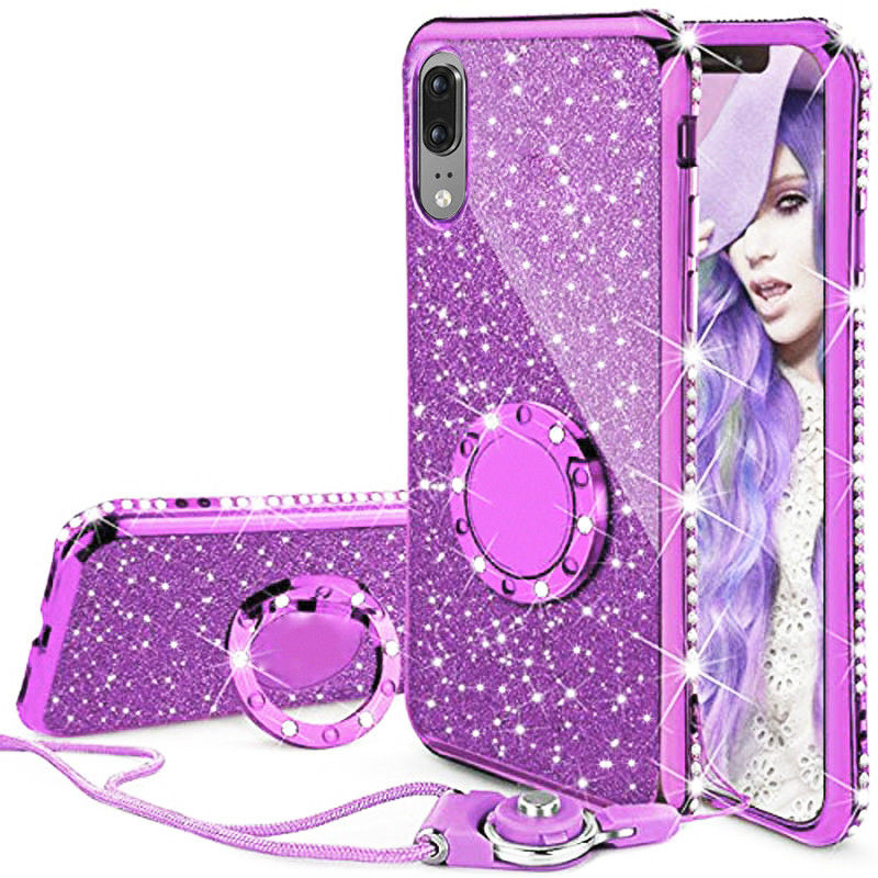 For iphone 6 6s 7 8 X Xs Max Case Glitter Diamond Cover For Samsung S9 S8 S7 Ring&Lanyard Case For <font><b>Huawei</b></font> <font><b>Mate</b></font> 10 <font><b>Lite</b></font> <font><b>P20</b></font> <font><b>Lite</b></font> image