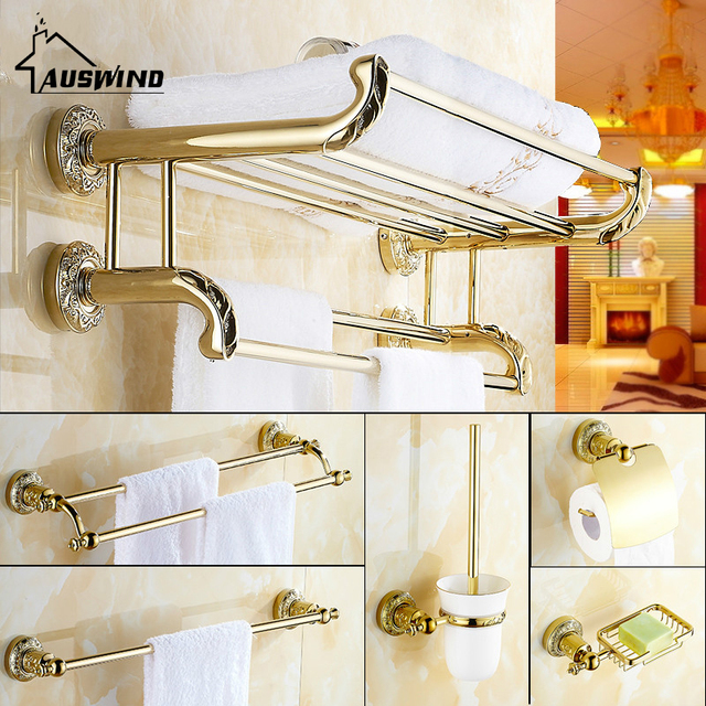 Aliexpresscom Buy European Copper Golden Bathroom Accessories Set - Where to buy bathroom hardware